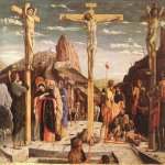 Andrea Mantegna (Isola di Cartura, about 1430/31 - Mantua, 1506)  Crucifixion  Tempera on wood, c.1457-1459  26 3/8 x 36 1/2 inches (67 x 93 cm)  Mus&#233;e du Louvre, Paris, France